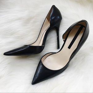ZARA WOMAN D'Orsay Leather Heels-Black-Size 39
